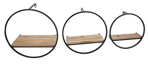 Benzara Round Shape Metal and Wood Wall Shelf (Set of 3), Brown by Benzara