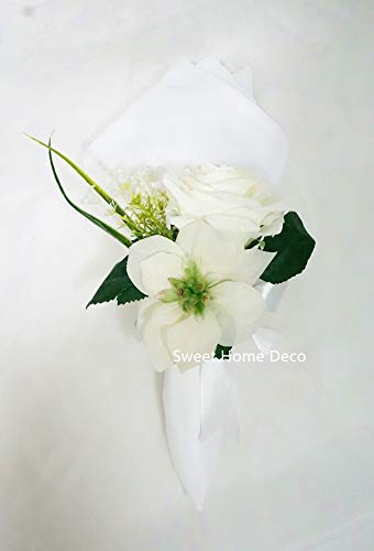 Sweet Home Deco Christmas Floral Arrangement, Silver Vase, White Floral Centerpiece, Silk Rose, Silk Poinsettias, Table Decorations, (White-Set of 6 Napkin Rings)