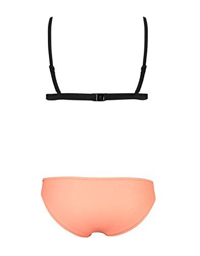 SOTW Color Block Bright Diving Suit Mesh Neoprene Bikini Set Swimsuit Swimwear, Tilly Sunburst, XS