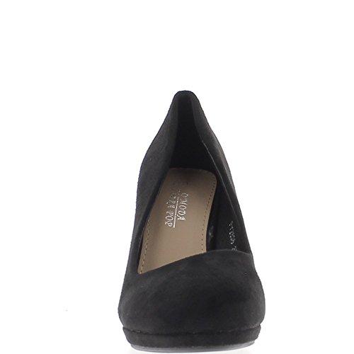 Scarpe donna Nero 9,5 cm pezzi spesso tacco rotondo cuscinetto prima camoscio aspetto