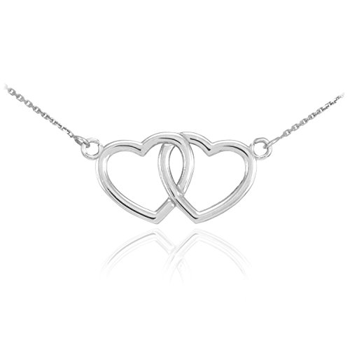 14k White Gold Double Open Heart Necklace with Dainty Rolo Chain, ()