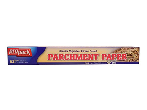 Propack Genuine Vegetable Non Stick Silicone Coated Parchment Paper 15 Inches By 50 Feet Total of 62 Feet