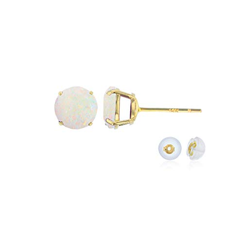 (Genuine 14K Solid Yellow Gold 4mm Round Natural Opal October Birthstone Stud Earrings )