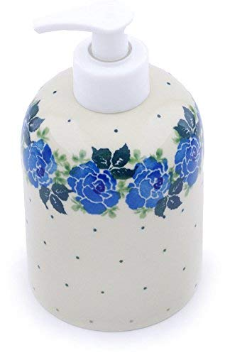 Polish Pottery 5½-inch Soap Dispenser Made by Ceramika Artystyczna (Floral Spring Theme) + Certificate of Authenticity