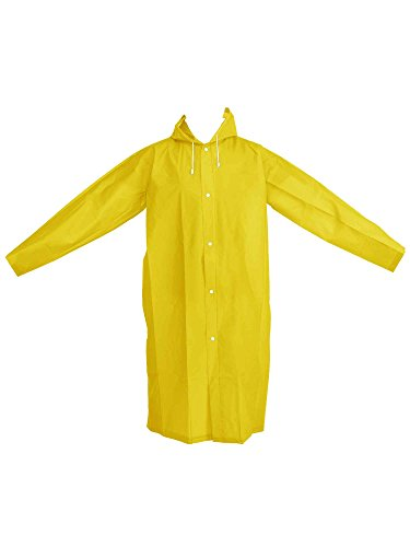 (Mudder Portable Raincoat Rain Poncho with Hoods and Sleeves (Yellow,Adult)