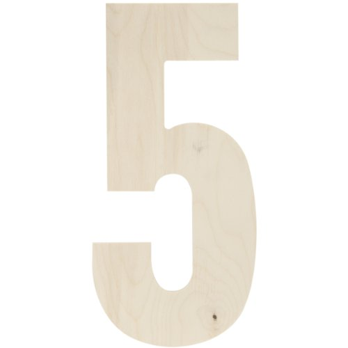 MPI Baltic Birch Collegiate Font Letters and Numbers, 13.5-Inch, Number-5 (Cardboard Numbers)
