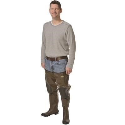 Pro Line Men's Stream Rubber Hip Waders Cleated Brown, BROWN, 10M