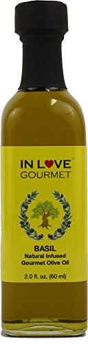 Basil Natural Flavor Infused Olive Oil 60ML/2oz Sample Size By In Love Gourmet (Olive Oil Spread)