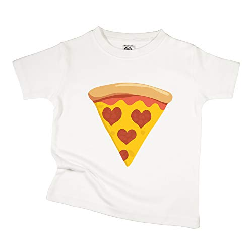 The Spunky Stork Pepperoni Pizza Slice Hearts Organic Cotton Toddler T Shirt (3T) White (Best Deep Dish Delivery Chicago)
