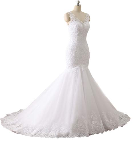 Women's Sexy V Neck Lace Applique Mermaid Wedding Dresses Long Backless Bridal Gowns Formal White-C 2 ()