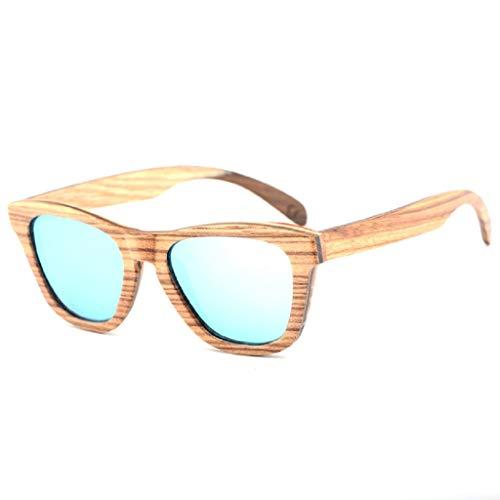 FOXOME - Sunglasses New European and American wind bamboo wood glasses bamboo-legged sunglasses skateboard wooden sunglasses Zebra Laminated ()
