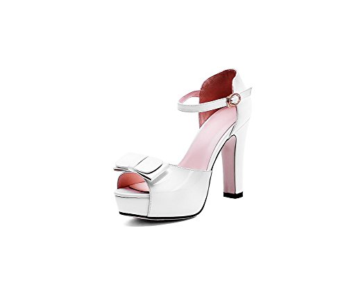 AgooLar Women's Buckle High-Heels Soft Material Solid Peep Toe Sandals White 3F2BXaxmk8