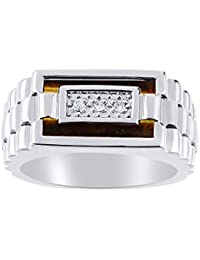 Designer Ring With Diamonds and Onyx, Quartz, or Tiger Eye Set in Sterling Silver .925