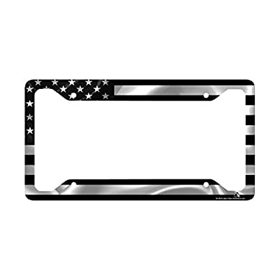 Airstrike Black American Flag License Plate Frame, American Flag Car Tag Frame, US License Plate Frame, United States Flag License Plate Frame-30-766: Automotive