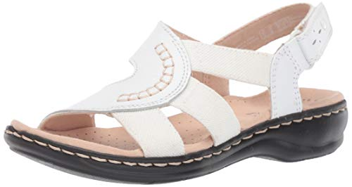 - CLARKS Women's Leisa Joy Sandal White Leather/Textile Combo 100 W US