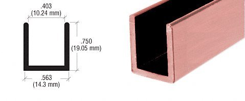 CRL Antique Brushed Copper Frameless Shower Door Aluminum Deep U-Channel for 3/8