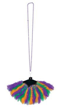 Beistle 57222 Beads with Mardi Gras Feather Fan, 46-Inch