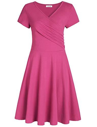 (Pintage Women's Surplice V Neck Knee Length Wrap Dress M Magenta )