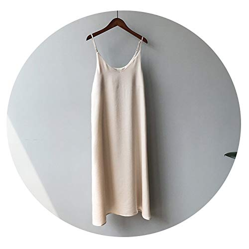 four- Spring Woman Tank Dress Casual Satin Sexy Camisole Elastic Female Home Beach ()