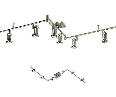6 Light Track Lighting Ceiling Mount Spot Light Fixture, Brushed Nickel & Chrome