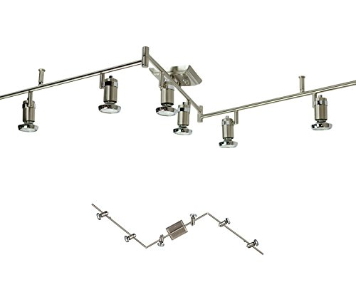 6 Light Track Lighting Ceiling Mount Spot Light Fixture, Brushed Nickel & Chrome (Kitchen Track Lighting compare prices)