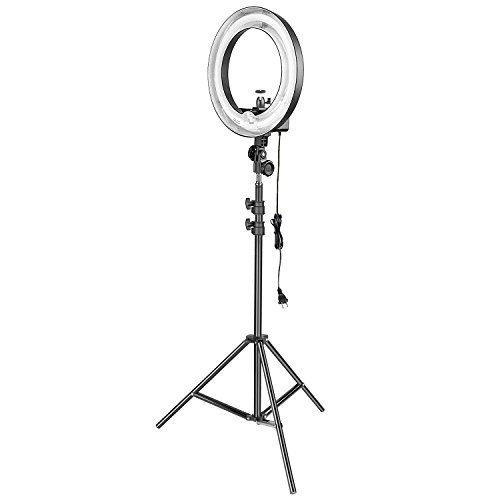 (Neewer 14-inch 50W 5500K Camera Ring Light and Light Stand Lighting Kit - Dimmable Fluorescent Ring Light and 6.5 feet Light Stand with Ball Head Hotshoe Adapter for Camera Photo Studio YouTube Video )