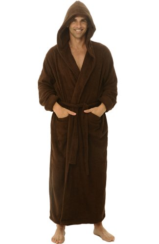 Alexander Del Rossa Mens Turkish Terry Cloth Robe, Long Cotton Hooded Bathrobe, 3XL 4XL Chestnut Brown ()