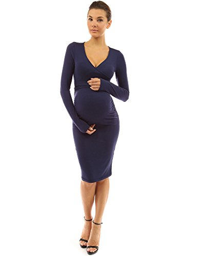 PattyBoutik Mama V Neck Tie Bow Maternity Dress (Navy Blue XL)