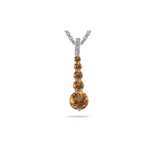 0.02 Cts Diamond & 1.25 Cts Citrine Journey Pendant in 14K White Gold