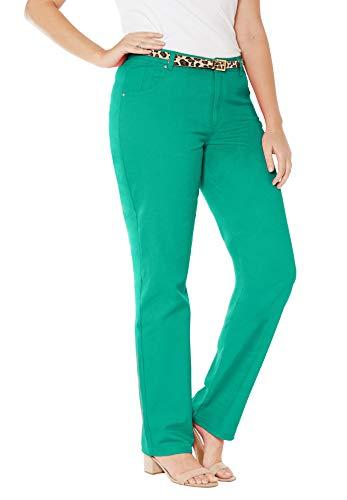 Jessica London Women's Plus Size Classic Cotton Denim Straight Jeans - Green Jade, 12
