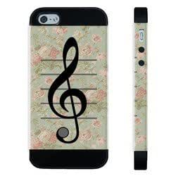 Houseofcases Vintage Floral Music Note Treble Clef iPhone 5/5S Case - Hybrid Plastic And Durable Silicon iPhone 5/5S Case
