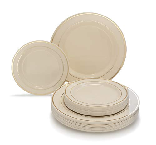 """"""" OCCASIONS"""" 50 piece (25 guest) Disposable Dinnerware Set - Wedding Plastic Plates for 25 guests - (25 x 10.5'' plates + 25 x 7.5'' plates, in Ivory with Gold Rim)"""