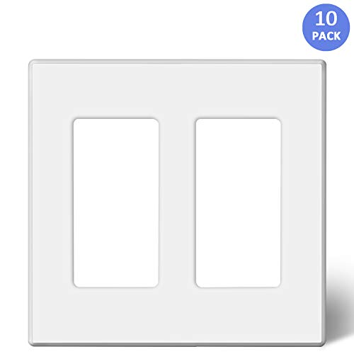 BESTTEN [10 Pack] 2-Gang Screwless Wall Plate, USWP2 Elegance White Series, Standard Outlet Cover for Light Switch, Dimmer, Sensor, Timer, and Receptacle, Residential and Commercial, UL Listed