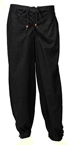 BARES Unisex Caribbean Pirate Renaissance Wench Medieval Costume Trouser Black Extra -