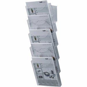 Helit H6103102 - Wandprospekthalter 5 Taschen, DIN A4, hoch, glasklar