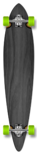 Yocaher Punked Stained Pintail Complete Longboard Skateboard, 40 x 9-Inch, Black ()