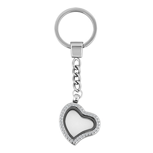 Q&Locket 30mm Glass Living Memory Locket Keychain Floating Charms Magnetic Key Ring (04) - Ring Floating Glass