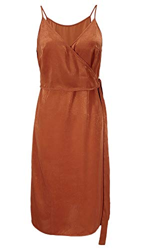 TOP-MAX Summer Wrap Dress-Cami Spaghetti Straps V Neck Sleeveless Cocktail Party Slip Casual Dress with Belt