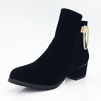 RTRY Women'S Shoes Fleece Fall Winter Fashion Boots Bootie Combat Boots Boots Chunky Heel Round Toe Booties/Ankle Boots Zipper Chain For US8.5 / EU39 / UK6.5 / CN40