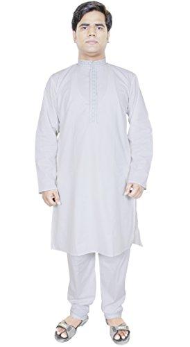 Kurta Pajama Embroidery White 100% Cotton Pant Kurta Yoga Summer Dress -S ()