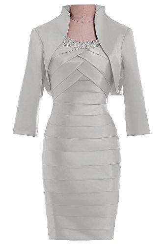 Elegant Etui Bolero Traeger Knielang Bride Partykleid Gorgeous Silver Mit Brautmutterkleid Cocktailkleid fw7PIqwn5x