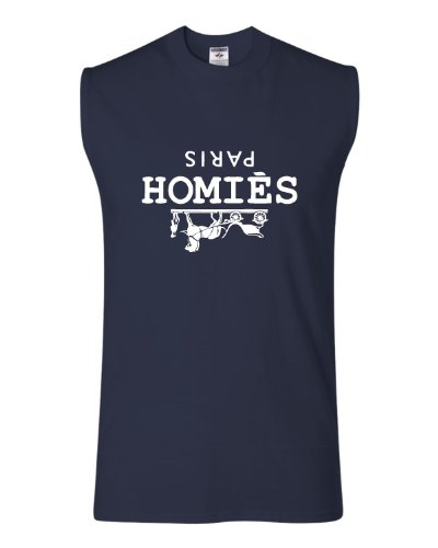 Small Navy Adult Homies Paris Sleeveless T-Shirt
