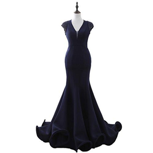 BessWedding Women Evening Long Navy Dresses Mermaid backless Gown Bridesmaid s Navy HUwrSdqxH