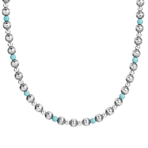 American West .925 Sterling Silver and Turquoise Beaded Necklace, 32
