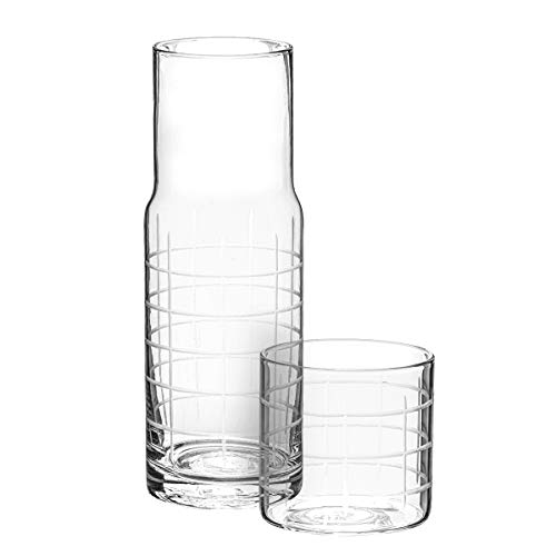 (Trinkware Linear Grid Pattern Bedside Night Carafe With Tumbler Glass - 2 Piece Water Set)