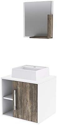 Gabinete P/Banheiro C/cuba Q32 e Espelheira Soft 50cm