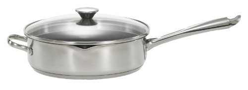 WearEver A8349765 Cook and Strain Nonstick Stainless Steel 10-Inch Covered Fry Pan / Saute Pan with Glass Straining Lid Dishwasher Safe Cookware, Silver, Appliances for Home