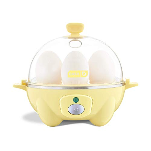 Dash Rapid Egg Cooker: 6 Egg Capacity Electric Egg Cooker for Hard Boiled Eggs, Poached Eggs, Scrambled Eggs, or Omelets with Auto Shut Off Feature - Yellow (Renewed)