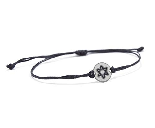 Stainless Steel Jewish Star of David Charm on Double Black String Adjustable Bracelet for Men & Women - Waterproof, Hypoallergenic Jewelry ()