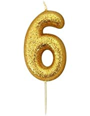 Anniversary House Gold Glitter Numeral Moulded Cake Candle - No 6